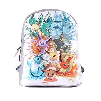 "13"" Anime Evolution Eevee Umbreon Leafe Sylveon Backpack Shoulder School Bag"
