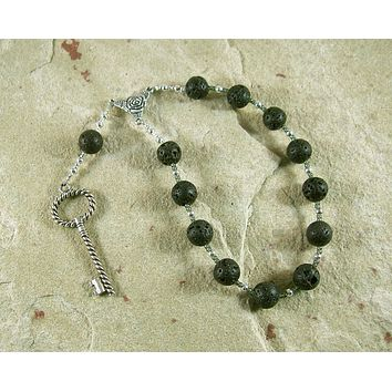 Hekate (Hecate) Pocket Prayer Beads in Black Lava: Greek Goddess of Magic and Witchcraft