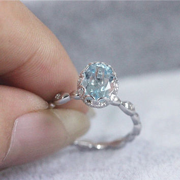 Solid 14k White Gold Ring 6x8mm Oval Cut Aquamarine Ring Engagement Ring Diamonds Wedding Band Ring Promise Ring
