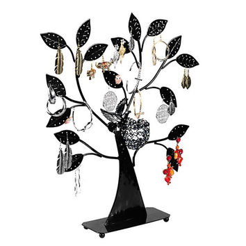 1PC Black Earring Tree Bird Nest Jewelry Display Stand Holder (Size: 43.5cm by 37.5cm by 8cm, Color: Black) = 1705679556