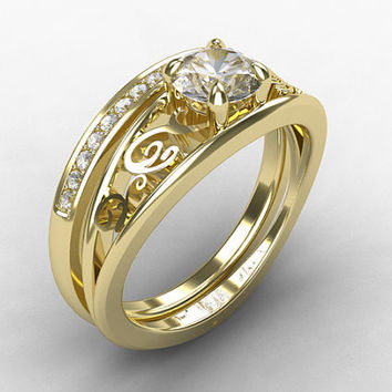 Engagement ring set, white sapphire ring, diamond wedding band, filigree engagement, white sapphire,  yellow gold, white gold