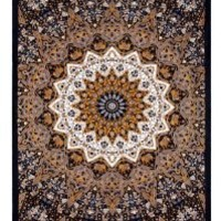 Sunshine Joy Indian Dark Star Hippie Tapestry - Brown & Grey - 60x90 Inches - Beach Sheet - Hanging Wall Art - 3D Reactive Artwork