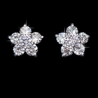 Classic Austria Cubic Zircon Crystal Five Petals Flower Tiny CZ Diamond Elegant Stud Earrings Jewelry for Women