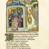 Philip the Good's copy of the Mystère de la Vengeance by Eustache Marcadé, a drama on the destruction of Jerusalem by the Romans, in French verse, illuminated manuscript on vellum [southern Netherlands (Hesdin and Bruges), c. 1465] | lot | Sotheby's