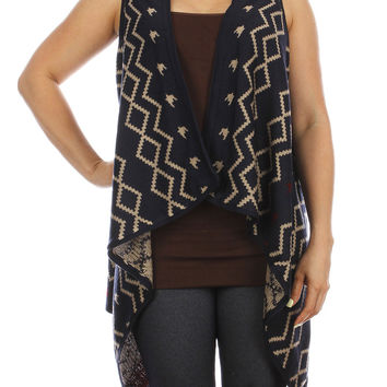 Navy Long Knitted Cardigan Vest
