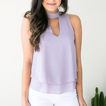 Lilac Options Choker Neck Top