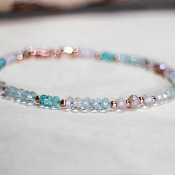 Aquamarine Rose Quartz Bracelet with Mystic Peach Moonstone & Apatite, 14k Rose Gold Gemstone Bracelet, Boho Bride