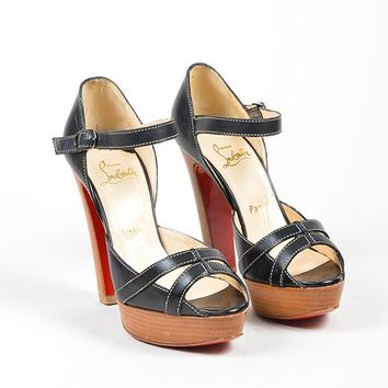 HCXX Black Christian Louboutin Leather Peep Toe Platform Stacked Heel Sandals