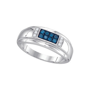 10kt White Gold Mens Round Blue Colored Diamond Band Ring 1/3 Cttw 89354
