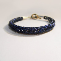 Blue Viking Knit Bracelet