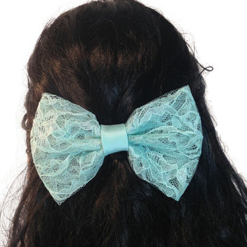 Blue Radiance Satin Lace Fabric Hair Bow, Girls Hair bow, Fabric Big Bow # 090