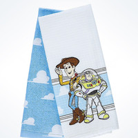 Disney Parks Toy Story Buzz & Woody Cotton Dish Towels Set New with Tags