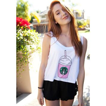 Echoine 2017 Summer Women Tank Tops Fashion Starbucks Print Sleeveless White Short Casual Women Top