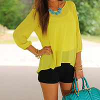 Femme Bow Blouse, Yellow
