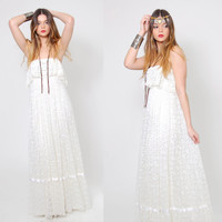 Vintage 70s White LACE Dress STRAPLESS Ruffle Boho WEDDING Dress Hippie Maxi Dress