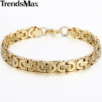 Trendsmax 6 8 11mm Friendship Gold Plated Flat Byzantine Stainless Steel Bracelet Motorcycle Biker Mens Chain KBM16