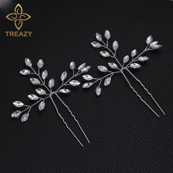 TREAZY 2pcs Bridal Wedding Crystal Floral Hairpins Headpiece Silver Color Handmade Hair Pins Bridesmaid Bride Hair Accessories