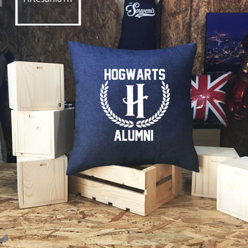 Harry Potter Hogwarts Alumni Pillow cover Jean cotton canvas, Cushion cover, pillow cover, small pillow case, 16x16 , canvas pillow cover