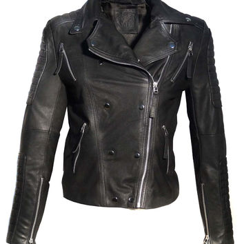 Leather Motorcycle Biker Washed Women Jacket with Multi Zippers