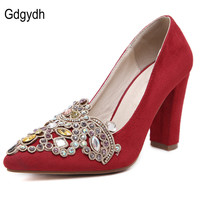 Gdgydh 2017 New Spring Autumn Women's Pumps Rhinestone Pointed Toe Thick High Heeled Casual Square Heel Red Bridal Shoes Wedding