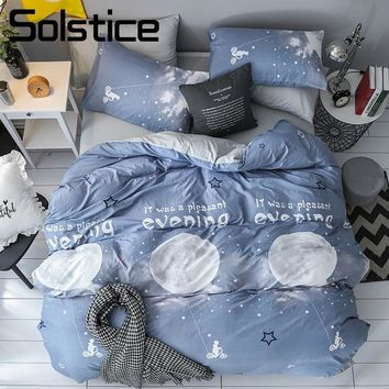 Solstice Home Textile Moon Light Blue Duvet Cover Pillowcase Bed Sheet Kid Teen Linen King Queen Boy Girl Bedclothes Bedding Set