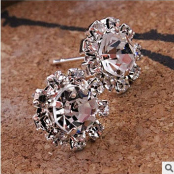 womens Fashion Style Shiny Sunflowers Zircon Imitation Diamond OL Earrings Wedding Jewelry Accessories (Color: Silver) = 1669319236
