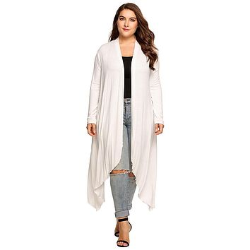 Curvy Open Front Solid Draped Cardigan