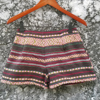 Tribal print Shorts Boho Chic Fashion Woven Ikat Aztec Stripes Hippies Clothing Ethnic Bohemian Handwoven Women Clothes Beach Summer Tribe