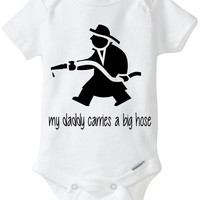 "Funny Baby Gift: Embellished Gerber Onesuit brand body suit - Fireman / FireFighter Baby ""My Daddy Carries a Big Hose"""