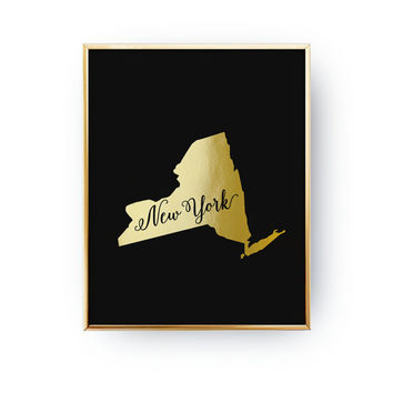 New York State Map, Real Gold Foil Print, New York Print, USA State Poster, New York State Print, Gold USA State Print, New York City