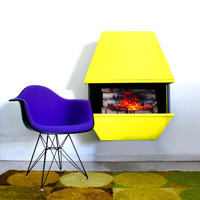 Mid Century Yellow Electric Fireplace