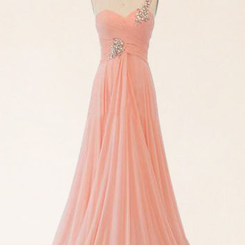 Blush pink prom dress, peach prom dress, blush dress, long prom dress, formal prom dress, chiffon prom dress, evening dress, RE303