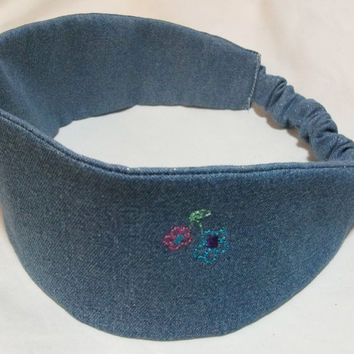 Wide Fabric Headband Reversible Wraparound Jean with Embroidered Flowers on One Side and Light Sparkle Jean on Other 2 in 1 2 for 1