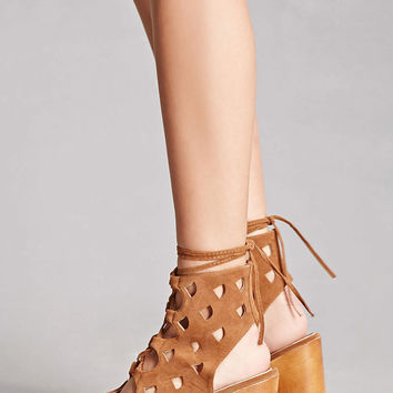Yoki Caged Faux Suede Platforms