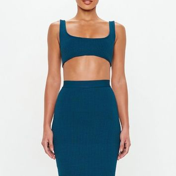 Missguided - Peace + Love Slate Blue Airtex Bandage Skirt