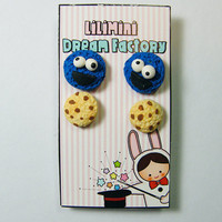 Cookie Monster and His Cookies Stud Earring Set of Two