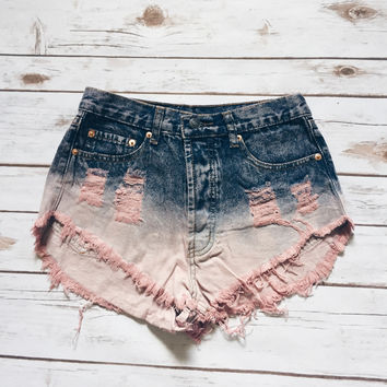 Ombre Denim Shorts