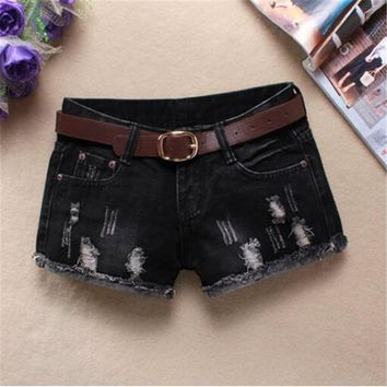 high waist jeans shorts fashion Straight Thin Flash ripped jeans