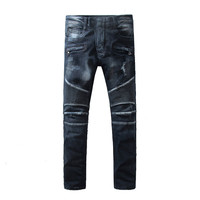 Men Jeans masculina Casual Denim distressed Men's Slim Jeans pants Biker jeans skinny rock hole ripped jeans homme