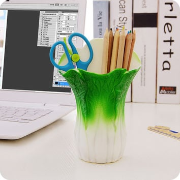 New Chinese Cabbage Storage Box Plastic Cosmetics Organizer School Office Supplies Suction Cup Stick Wall Toothbrush Holder Rack