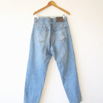 90's CALVIN KLEIN Easy Fit Stonewash Denim Worn In Faded Distressed 5 Pocket Jeans Sz 34