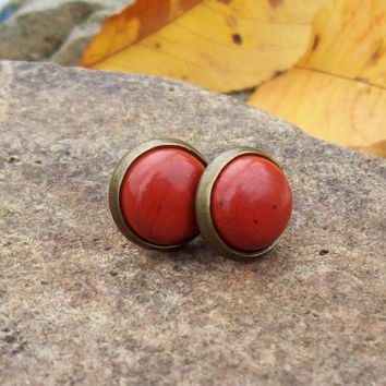 Red Jasper Cabochon Post Earrings - Waking Dreams