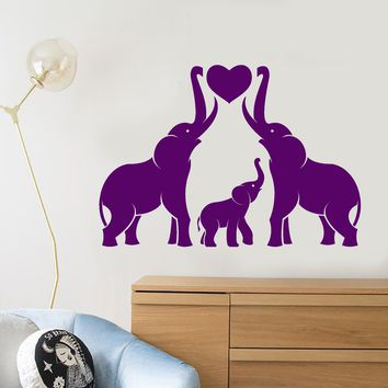 Vinyl Wall Decal Cartoon Family Elephants Animals Heart Symbol Love Stickers (2585ig)