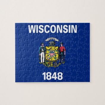 Puzzle with Flag of Wisconsin State