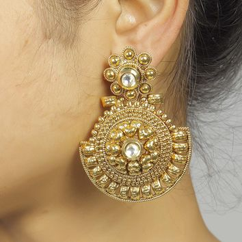 Traditional Style Beautiful Gold Plated Kundan Stud Polki Earrings Partywear Jewelry