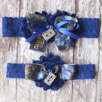 Guardians of the Galaxy Garter Set |  Awesome Mix Wedding Garters | Bridal Garter and Toss Garter