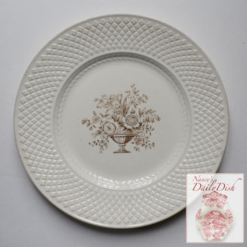 Antique Brown Roses Toile Transferware Plate Creamware Embossed Border Spode Copeland