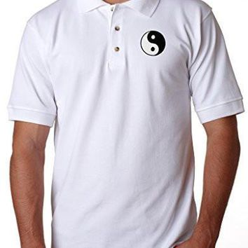 Yoga Clothing for You Mens Yion Yang Patch Polo Shirt, (pocket print)