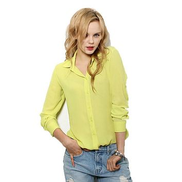 new Women Blouses Direct Selling Button Solid  Autumn women tops  Long-sleeve Shirt Female Chiffon Slim Clothing 2017