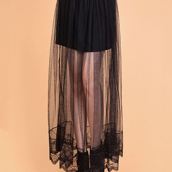 Organza Scallop Lace and Mesh Overlay Maxi Skirt